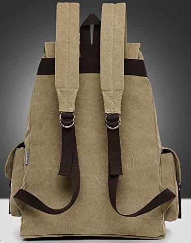 DoubleMay Unisex Damen Herren Vintage Retro Canvas Rucksack Schultasche Reisetasche Daypacks Backpack 14 Zoll Laptoprucksack für Uni Outdoor Sports Freizeit 34 x 18 x 46cm (Schwarz) Khaki eLZ4mnXhVL