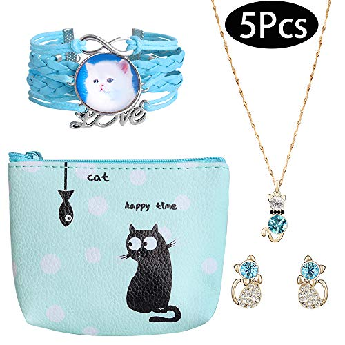 Cat Jewelry Set, Hicdaw 5PCS Cat Earrings for Girls Cat Necklace Bracelet Storage Bag Cat Gift for - Cat Earrings Set