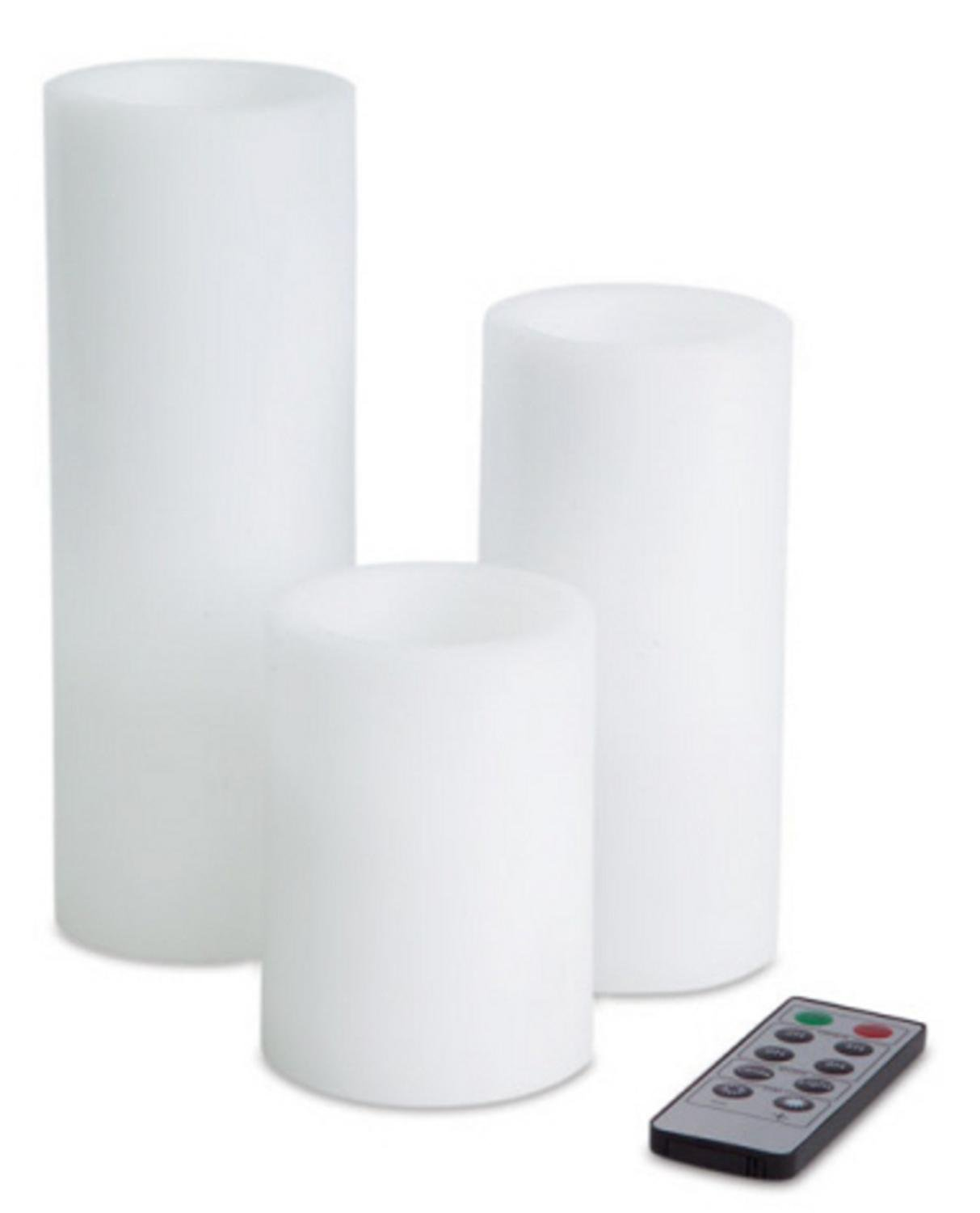 Pack of 6 White Remote Controlled Battery-Operated LED Flameless Pillar Candles