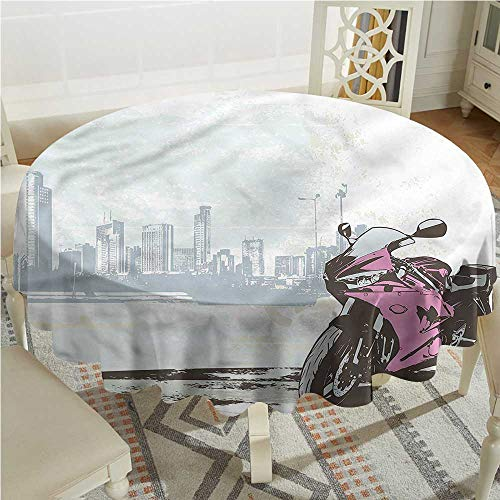 Tim1Beve Motorcycle Water Resistant Table Cloth Motorbike by River for Banquet Decoration Dining Table Cover D54 INCH