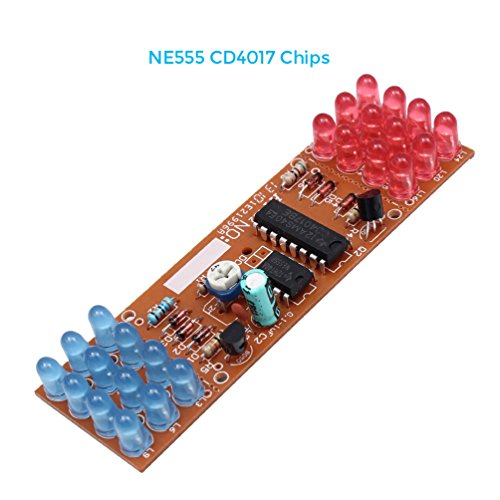 WHDTS WHDTS Red Blue Color LED Flashing Lights Lamp DIY Kits Module NE555 CD4017 Chip Soldering Kit price tips cheap