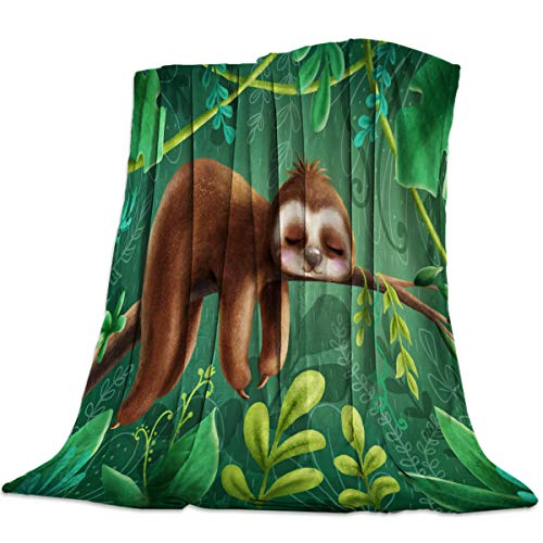 Savannan Fleece Blanket Throw Blanket for Bed or Couch,Super Soft Microfiber Fuzzy Decorative Flannel Blanket for Adults Kids,Sloth (60 x 80 Inches)