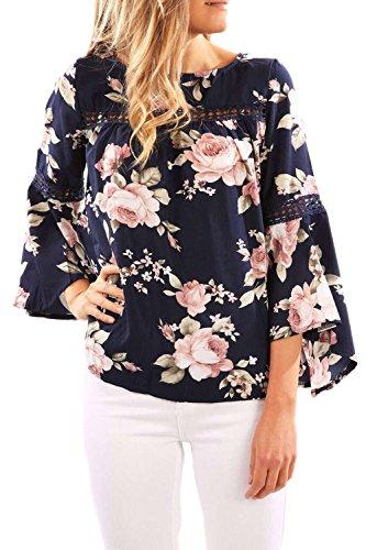 La Mujer Elegante Floral Impreso Manga 3 / 4 T Shirt Blusas Tops Navypink