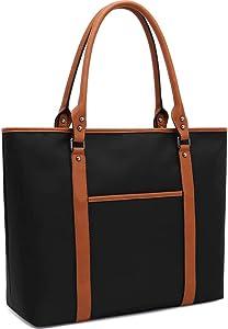Laptop Bag,Work Bag 15.6-17 inch Laptop Bag for Women Durable Water-Repellent Nylon Briefcase Large Laptop Shoulder Bags for Teachers College Students Office Ladies,Black
