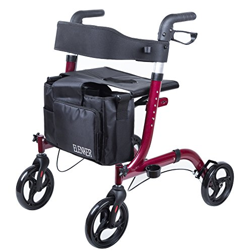ELENKER Medical Euro Style Four Wheel Walker Rollator Red by ELENKER (Image #1)