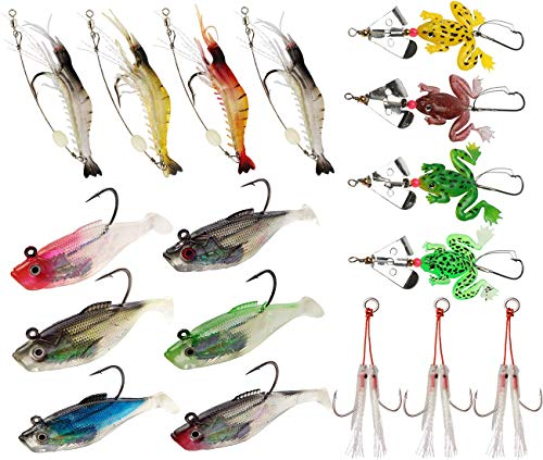 JSHANMEI Fishing Lures Kit Soft Bait Rigs, Lead Jig Hook Spinner Shrimp Frog Lures Set for Freshwater and Saltwater