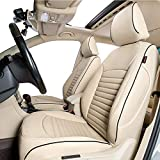 Lingyue Full Coverage Leatherette Custom Exact Fit Car Seat Cover, Front&Rear Seat Cover for Subaru Outback 2015 2016 2017 2018 2019, Airbag Compatible, Beige Color