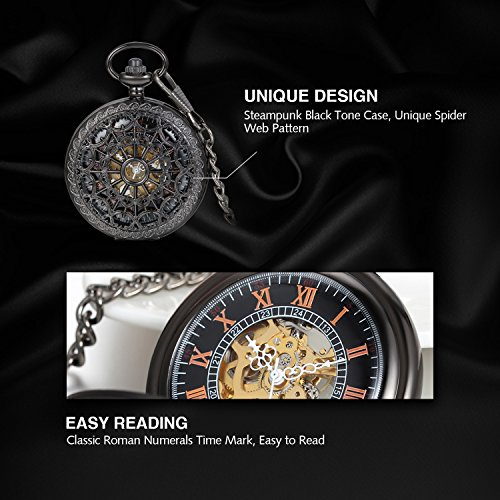 Avaner Unisex Antique Steampunk Black Skeleton Spider Web Pattern Hand Wind Mechanical Movement Roman Numeral Pocket Watch Gift with 14 inches Chain by Avaner (Image #3)