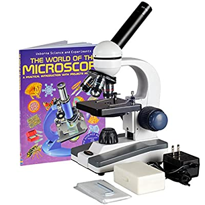 AmScope M150C-PS25-WM Compound Monocular Microscope, WF10x and WF25x Eyepieces, 40x-1000x Magnification, LED Illumination, Brightfield, Single-Lens Condenser, Coaxial Coarse and Fine Focus, Plain Stage, 110V, Includes Set of