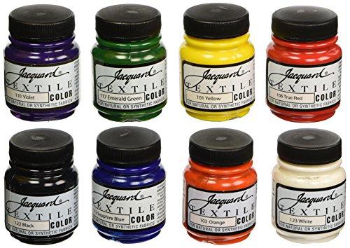 Jacquard Non-Toxic Professional Quality Artists Textile Paint Set, 2.25 oz Jar, Assorted Color, Set of 8 (Jacquard Fabric Paint)