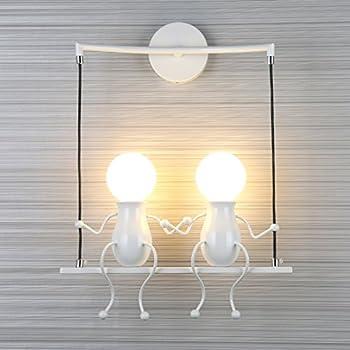 SOUTHPO LED Wall Light Fixtures Creative Double Little People Mini Wall  Sconces Lighting Modern Decor Adjustable Swing Metal Bedside Lamp Children  Cartoon ...