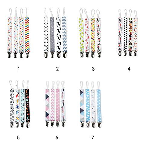 2cm DaoRier 4pcs Cadena Chupetes Clip de Polyester Chupete Perlas de Mordedor 25.5