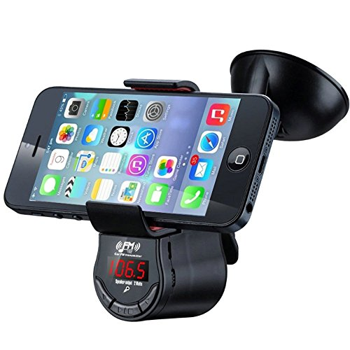 FM Transmitter With Phone Holder, RyuGo Car Radio Stereo FM Adapter With Suction Cup Holder and Car Charger