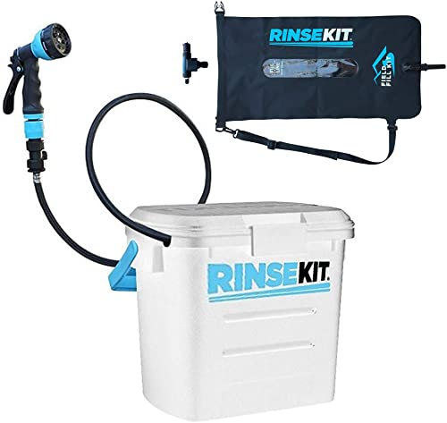 Evolve USA LLC Rinse Kit RinseKit Pressurized Portable Shower + Field Fill Kit (Outdoor Adventure Bundle) White