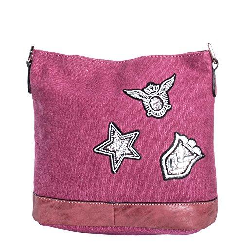 pequeño Bandolera cuero Bolso de Lona Mora estrella señoras con de 07a las tuc07 Gadzo wFqvx8IZw