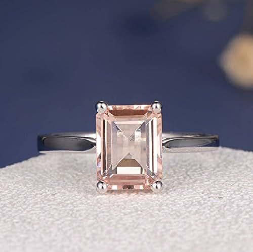 Amazon.com: Morganite Ring Emerald Cut Engagement Ring