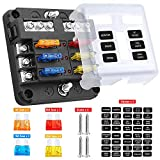 Electop 6 Way Blade Fuse Block Fuse Box Holder, 6 Circuit Car Ato/Atc Fuse Block with LED Indicator Damp-Proof Protection Cover Sticker for Automotive Car Truck Boat Marine RV Van
