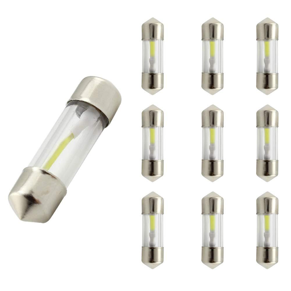 WeiXuan 10PCS LED Car Festoon Dome Light 27mm/31mm/36mm/39mm/41mm 12V 360 Degree COB Filament Lamp White 6000K for Car Reading Bulbs, Interior Lights, License Plate light (27mm) Ledingway lighting Co. Ltd