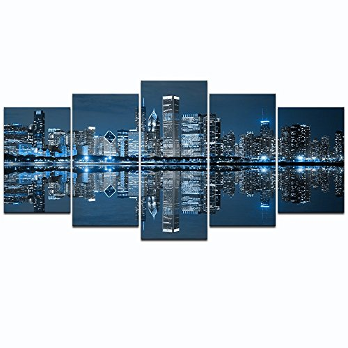 LevvArts - Chicago Downtown at Night Picture Canvas Print - Modern City Wall Art - 5 Panels Framed Artwork for Office Living Room Wall Decoration (Chicago Skyline Wall Art)