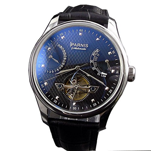 Classic 43MM Parnis Black Dial Power Reserve Seagull 2505 Automatic Movement Men's Wristwatch (Mens Automatic Movement Date Indicator)
