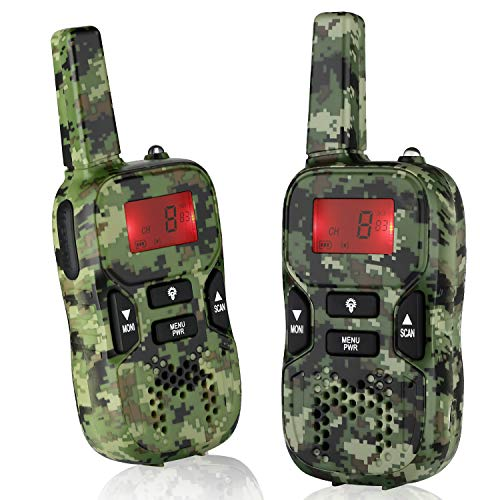 Army Green Rechargeable Walkie Talkies for Kids Boys Adult Family Interaction, up to 3.7 Miles Walky Talky Interphone Hunting Toys for 4-10Year Old Boys Gift