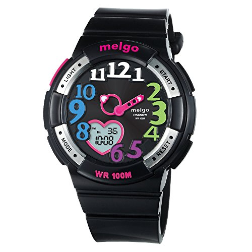 Girls Watches Colorful 3D Arabic Numerals Heart-shaped Analog & Digital Display 330FT Waterproof Girls' Wrist Watch Black Shaped Analog