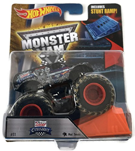 Hot Wheels Monster Jam Truck 1:64 #51 Lucas Oil Crusader with Mud Treads Includes Stunt Ramp
