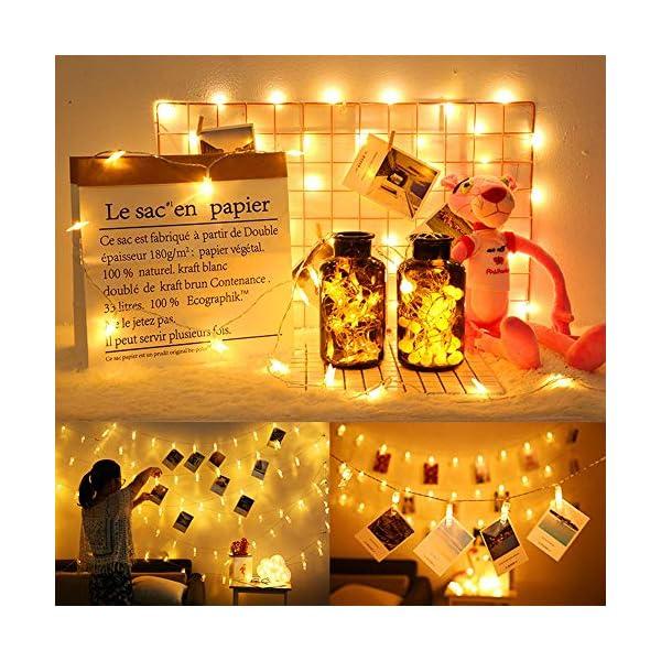 JUMKEET Catena Luminosa, 10m 100LED Luci Brillanti Filo di Rame - Impermeabile Presa Ideale per Compleanno Decorazioni Natalizie Feste di Natale Ecc Luce Bianca Calda [2 Pacchi] 6 spesavip