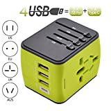 International Power Adapter Travel Plug Adapter with High Speed 3 USB and Type-C for UK,US,AU,Europe,Asia All in One for iPhone, Android, All USB Devices Green