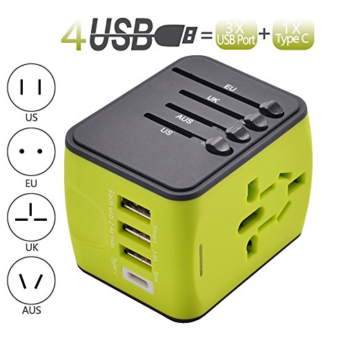 International Power Adapter Travel Plug Adapter with High Speed 3 USB and Type-C for UK,US,AU,Europe,Asia All in One for iPhone, Android, All USB Devices Green by Pronghorn