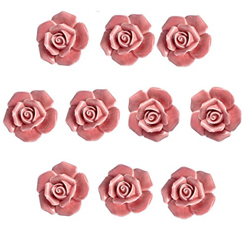 Agile-Shop 10 Pcs Ceramic Vintage Floral Rose Flower Door Knobs Handle Drawer Kitchen + Screws (Pink)