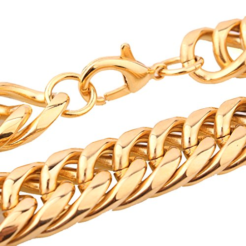 20mm Curb Chain Necklace - 20mm Men's Gold Plated Stainless Steel Heavy Cuban Curb Chain Necklace 16-40 Inch (31)