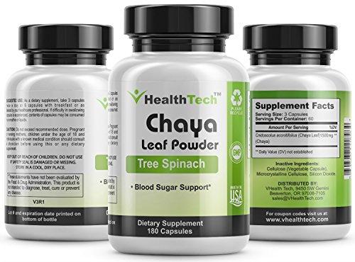 Chaya Tree Spinach - Leaf Powder - Blood Sugar Support - Blood Circulation 180 Veggie Capsules V-HealthTech Discount
