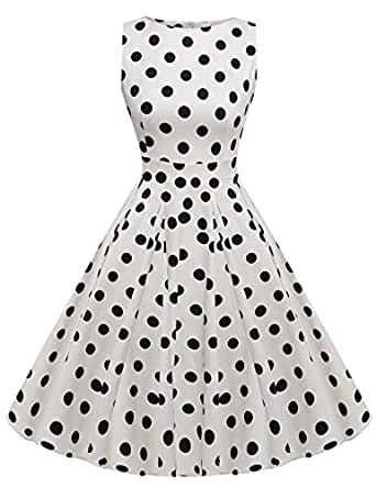 ACEVOG Womens 1950s Fit and Flare Sleeveless Peplum Party Cocktail Dress, Small, #1 Blue + White