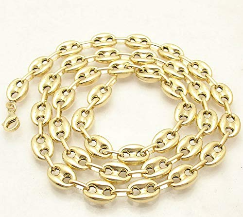 Hemau 9mm Puffed Mariner Anchor Link Chain Necklace Real Solid 10K Yellow Gold | Model NCKLCS - 1815 | 28