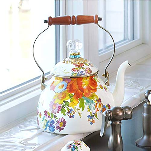 MacKenzie-Childs Tea Kettle, Steel Enamel - Flower Market - Multicolor - Printed Stovetop - 9'' Dia. base, 4.5'' Dia. lid, 13'' Tall, 3 Qt. Capacity by MacKenzie-Childs (Image #1)