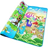 RXIN Baby Play Mat 200/180/0.5cm Crawling Mat Double Surface Baby Carpet Rug Animal Car+Dinosaur Developing Mat for Children Game Pad