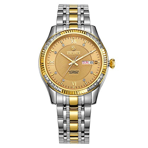 BINLUN-Mens-Gold-Big-Face-Roman-Numerals-Self-Wind-Stainless-Steel-Casual-Wrist-Watches-with-Day-Date