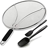 Grease Splatter Guard for Frying Pan - 13 inch, Fine Mesh and Bonus 2 Silicone Spatulas - Protect Face From Hot Oil Splash - Cover Lid Shield Screen For Cooking - Kitchen Gift Set