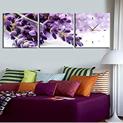 Decorative murals wall clock Frameless decorated Purple lavender Canvas painted wall clock , 6060cm