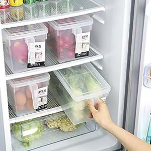 "GINOVO 2pcs 12"" x 6.2"" x 6.2"" Fridge and Freezer Storage Organizer Bins with Handles and Lid"