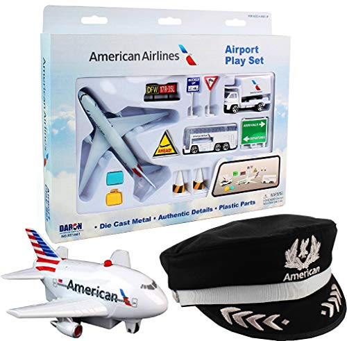 Daron American Airlines Deluxe Gift Set with Airport Playset, Pilot