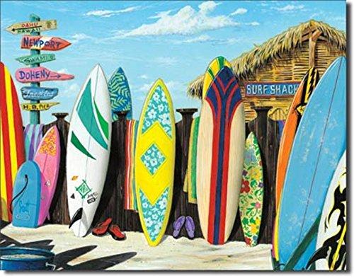 - SURF Shack Beach Surfer Surfing Longboard Surfboard FIN Metal 12.5