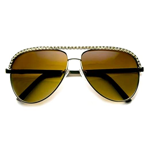 803ddffa8cd Rhinestones Womens Aviator Metal Sunglasses Stunner Fashion Celebrity Bling  (Gold)