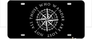 PAGAIXI Tin Signs Metal Sign 6x12 Not All Those Who Wander are Lost Compass Front License Plate Vanity car tag with Wall Decor Art Decorations Farm