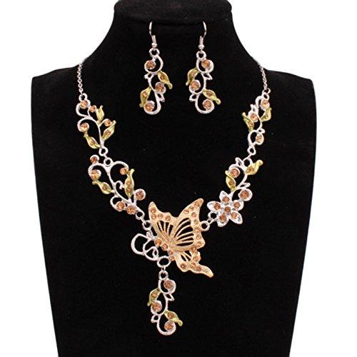 Owill Women Classic Butterfly Flower Rhinestone Pendant Necklace Earrings Jewelry Set (A, - Earrings Jewelry Rhinestones Butterfly
