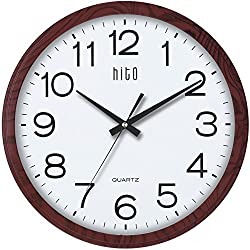 hito Modern Silent Wall Clock Non ticking 15 inch Excellent Accurate Sweep Movement Glass Cover, Decorative for Kitchen, Living Room, Bathroom, Bedroom, Office (15 inches, Wood)