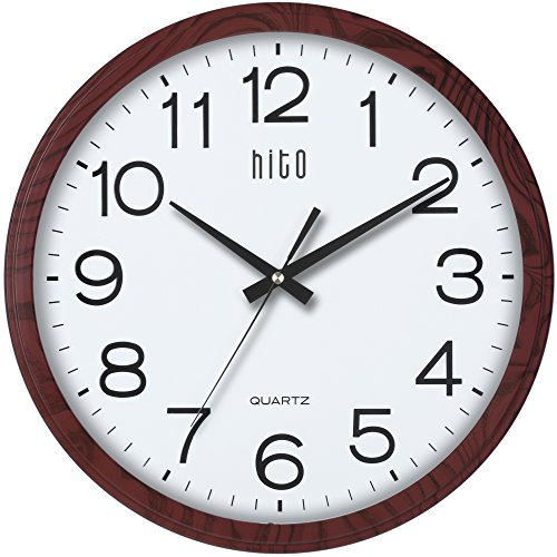 hito Modern Silent Wall Clock Non ticking 15 inch Excellent Accurate Sweep Movement Glass Cover, Decorative for Kitchen, Living Room, Bathroom, Bedroom, Office (15 inches, Wood) by hito