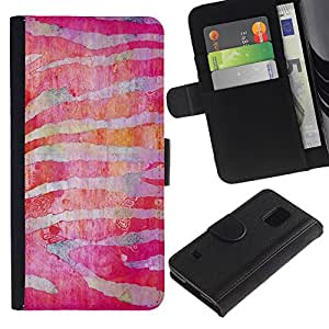 iKiki Tech / Cartera Funda Carcasa - Zebra Stripes Red Fuchsia - Samsung Galaxy S5 SM-G900