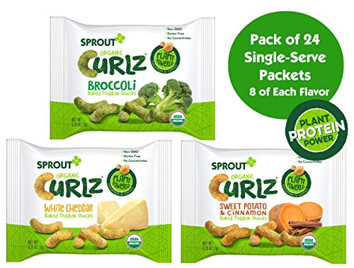 Sprout Organic Curlz Toddler Snacks, Variety Pack, 0.25 oz Single Serve Packets (Pack of 24) 8 of Each: White Cheddar, Broccoli, & Sweet Potato & Cinnamon ()